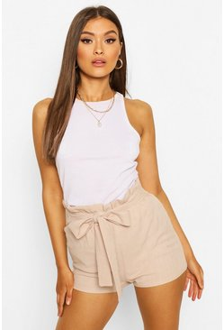 Stone beige Linen Look Paperbag Shorts