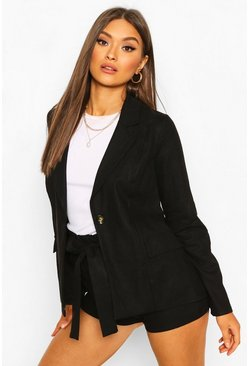 Black Linen Look Blazer