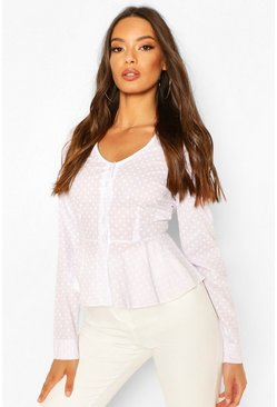 White Cotton Mix Polka Dot Button Down Shirt