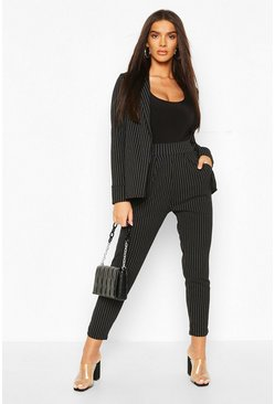 Black svart Pinstripe Tailored Blazer & Trouser Co-Ord Suit
