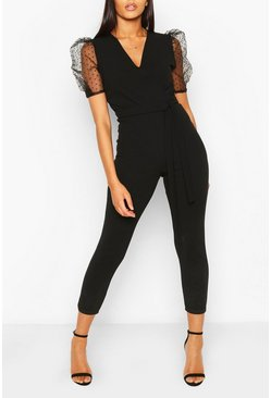 Black Dobby Organza Sleeve Tapered Jumpsuit