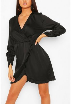 Black Satin Ruched Sleeve Ruffle Tea Dress