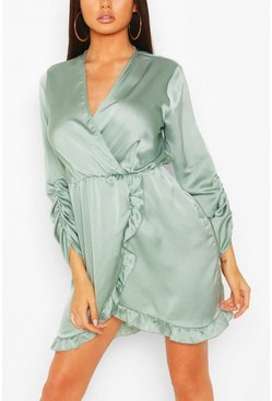 Emerald green Satin Ruched Sleeve Ruffle Tea Dress