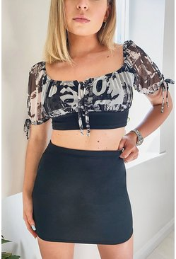 Black Mesh Tie Detail Top And Mini Skirt Two-Piece