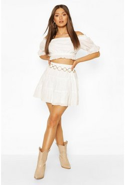 Ivory white Eyelet Ruffle Hem Mini Skirt