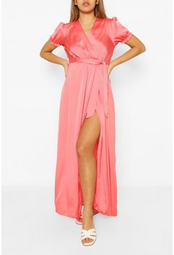 Coral pink Wrap Puff Sleeve Maxi Dress