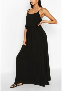 Black Strappy Double Layer Maxi Dress