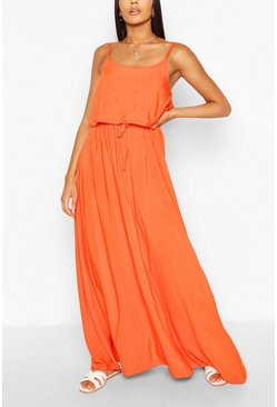 Orange Strappy Double Layer Maxi Dress