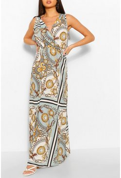 Sage Chain Print Belted Maxi Dress