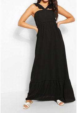 Black Strappy Ruffle Detail Maxi Dress