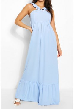 Blue Strappy Ruffle Detail Maxi Dress