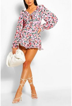 Black Bright Floral Volume Sleeve Playsuit