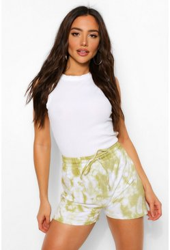 Sage green Elasticated Waist Tie Dye Sweat Short