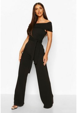 Black Off Shoulder Tie Waist Jumpsuit