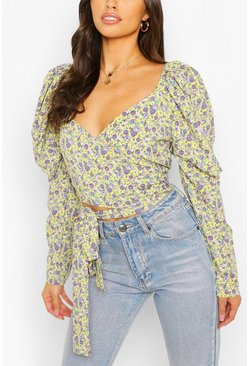 Yellow Woven Floral Puff Sleeve Tie Front Crop Top