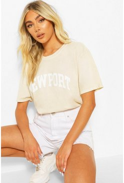 Sand beige Newport Washed Slogan T-Shirt
