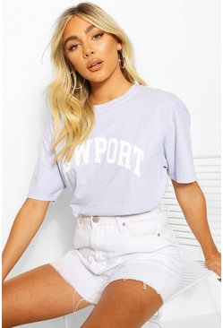 Sky Newport Washed Slogan T-Shirt