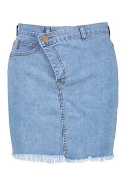 Mid blue Asymmetric Waistband Acid Wash Denim Skirt