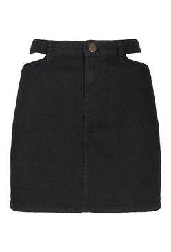 Black Waistband Detail Disco Denim Skirt