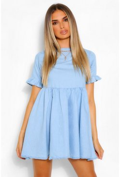 Light blue Chambray Smock Dress