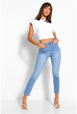 Mid blue blue High Rise Stretch Mom Jean
