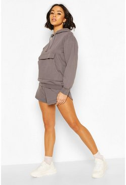 Charcoal grey Washed Hoodie & Short Set