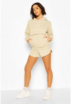 Sand beige Washed Hoodie & Short Set