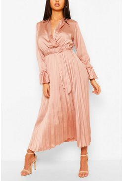 Blush pink Satin Pleated Midaxi Dress