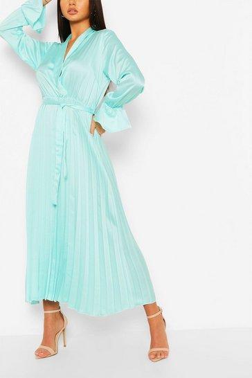 Sage green Satin Pleated Midaxi Dress