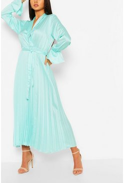 Sage Satin Pleated Midaxi Dress