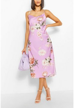 Lilac purple Floral Satin Maxi Dress