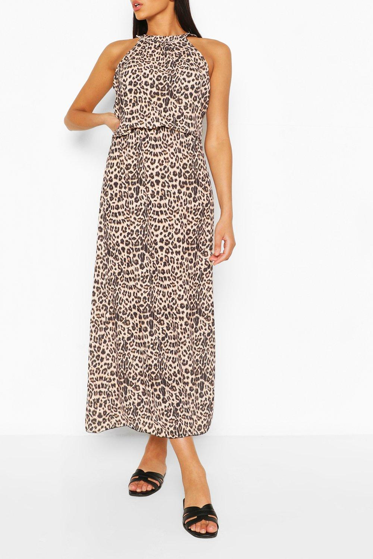 Summer Dresses Leopard Print High Neck Maxi Dress