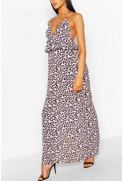 Lilac purple Leopard Frill Waist Maxi Dress
