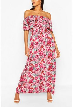 Red Rose Print Off The Shoulder Double Layer Maxi Dress