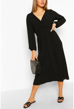 Black Wrap Long Sleeve Midi Dress
