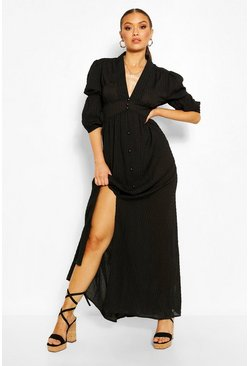 Black Woven Button Front Balloon Sleeve Maxi Dress