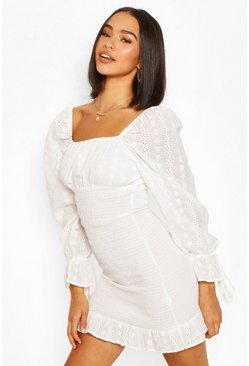 White Broderie Anglaise Shirred Ruffle Hem Mini Dress