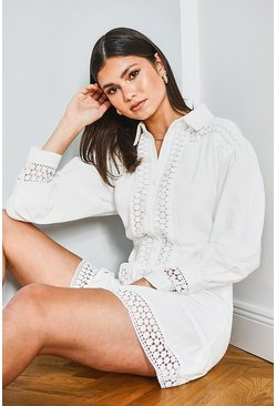 White Lace Trim Button Down Shirt Dress