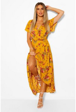 Mustard Cheesecloth Floral Wrap High Low Maxi Dress