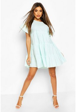 Mint green Polka Dot Tiered Smock Dress