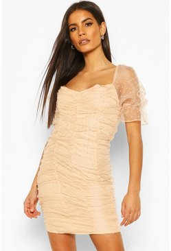 Soft pink pink Dobby Mesh Rouche Detail Mini Dress