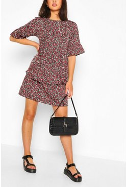 Woven Floral Ruffle Sleeve Smock Dress, Black