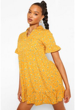 Mustard Floral Collar Detail Smock Dress