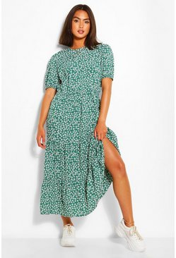 Green Woven Floral Print Midaxi Dress