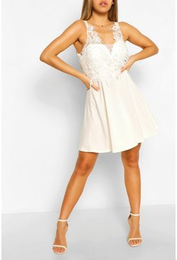 White Crochet Lace Skater Dress