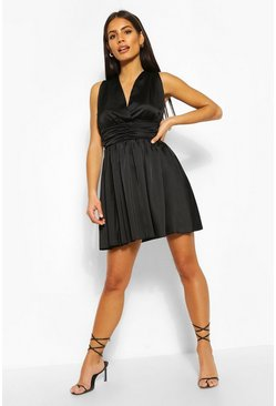 Black Satin Waist Detail Skater Dress