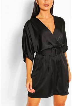 Black Satin Kimono Sleeve Belted Skater Dress