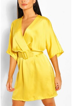 Chartreuse Satin Kimono Sleeve Belted Skater Dress