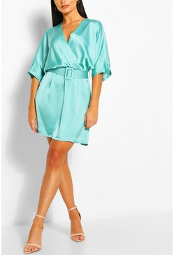 Turquoise blue Satin Kimono Sleeve Belted Skater Dress