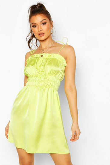 Lime green Satin Strappy Shirred Skater Dress